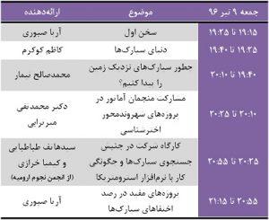 نشست روز جهانی سیارک در جمعه نهم تیر / 30 ژوئن همزمان با بیش از 200 شهر دیگر جهان در تهران برگزار میشود. هدف این برنامه آگاهیرسانی نسبت به خطر بالقوه سیارکهایی است که احتمال برخورد با زمین را دارند. امسال، برای نخستین بار ایران با هماهنگی مجله نجوم میزبان این رویداد علمی خواهد بود.   به همین مناسبت جمعه نهم تیر از ساعت 19:15 تا 21:25،  ویژه برنامهای با همکاری تحریریه مجله نجوم و برگزارکنندگان چهارمین و پنجمین جنبش جستوجوی سیارک درموسسه آموزش عالی نوین پارسیان به نشانی زیر برگزار خواهد شد: تهران، خیابان مطهری، خیابان فجر (جم)، پلاک 60، مجتمع فنی عالی نوین پارسیان، طبقه سوم   برنامه سخنرانیها و کارگاههای این نشست به شرح زیر است:     نکته مهم: حضور در این برنامه برای عموم علاقهمندان آزاد و رایگان است. اما با توجه به محدودیت فضای محل برگزاری، لازم است پیش از حضور در این برنامه در لینک زیر کار ثبت نام را به صورت رایگان انجام دهید. توصیه میکنیم اگر قصد شرکت در برنامه را دارید، پیش از تکمیل شدن ظرفیت این کار را انجام دهید: http://evand.com/asteroidday2017     سابقه برگزاری رویداد رویداد روز جهانی سیارک در سال 2017، سومین سال پیاپی است که در حوزه ترویج نجوم در سراسر جهان برگزار میشود و با توجه به اهمیت و تنوع مشارکت گروههای مختلف از علاقهمندان به نجوم در مطالعه و ترویج آن، مخاطبان بسیاری در جهان یافته است.  در سال 1393/2014 گریگوری ریچرز رویداد روز جهانی سیارک را بنیانگذاری کرد تا در 9 تیر 1394/ 30 ژوئن 2015 برای نخستین بار در سراسر جهان با همکاری بیش از 70 کشور شاهد برگزاری گردهمایی منجمان و مردم عادی علاقهمند به دنیای سیارکها باشیم. دوره دوم برگزاری روز جهانی سیارکها سال گذشته برگزار شد. رویدادی بسیار پرمخاطب، با برنامههای متنوع که به آگاهی عمومی در باب سیارکها و خطرات احتمالی برخورد آنها برای سیاره ما میپرداخت. هر ساله در تاریخ 30 ژوئن (9 یا 10 تیر ماه)، مصادف با سالگرد حادثه تونگوسکا در روسیه این رویداد برگزار می شود.    حادثه تونگوسکا خطرناکترین حادثه ثبت شده ناشی از برخورد سیارکها و شهابسنگها در دوران معاصر بوده است که در دهم تیر 1287 در نتیجه برخورد مرگبار شهابسنگ رخ داد و منجر به آسیبهایی برای ساکنان زمین شد.