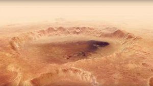 بر فراز دهانه برخوردی عظیمی در سیاره مریخ پرواز کنید